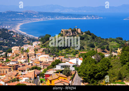 Begur, Old Town and Castle overlooking Mediterranean Sea and the Pyrenees mountains. Begur is a popular resort on Costa Brava, Catalonia, Spain. - Stock Photo