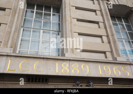 London, UK. 25th January, 2019. Text outside County Hall, former home of the London County Council and Greater London Council. - Stock Photo