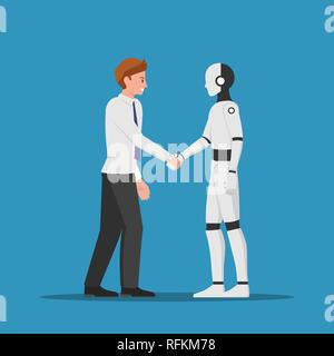 Businessman shaking hand with AI robot. Artificial intelligence concept. - Stock Photo