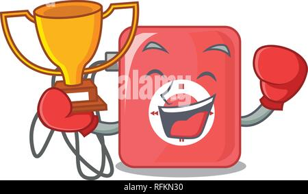 Boxing winner mp3 player isolated on with mascot vector illustration - Stock Photo