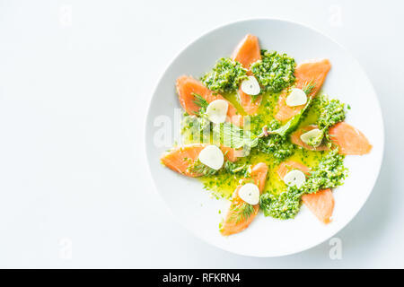 Salmon salad with spicy sauce Thai modern style food - Soft focus point - Stock Photo