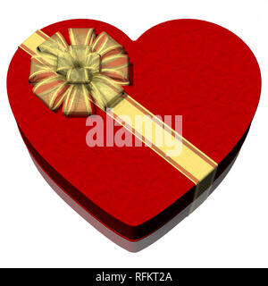3D illustration. Gift package in the shape of heart. Red on a white background. - Stock Photo