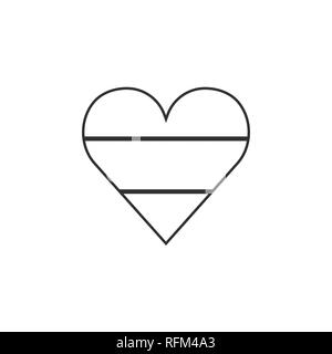 Horizontal triband country flag icon in a heart shape in black outline flat design. Independence day or National day holiday concept. - Stock Photo