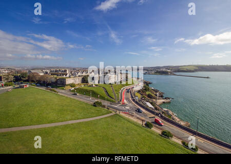 Plymouth Citadel and Marine Laboratories from top of Smeatons Tower. Mount Batten Pier in distance - Stock Photo