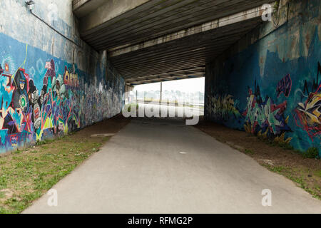 Brest, France 28 May 2018 Graffiti urban tunnel on the Botanical Garden in the Brest France may 2018. - Stock Photo