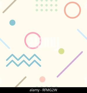 Abstrac background seamless pattern with geometrical lines and shape in light colors. Cream background. Vector illustration. - Stock Photo