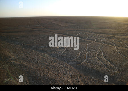 The famous large ancient geoglyphs Nazca lines called Arbol (tree) in evening sunlight, view from observation tower at Nazca desert, Ica region, Peru - Stock Photo