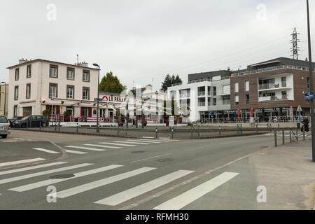 Brest, France 28 May 2018 street buildings car shop. - Stock Photo