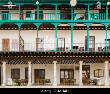 CHINCHON, SPAIN - MARCH 26, 2016: Facades of XV century houses in the main Square of Chinchon village, a village near Madrid city. Chinchón's Plaza Ma - Stock Photo