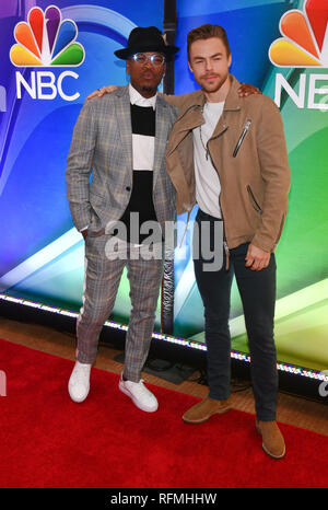 NE-YO and Derek Hough attends NBC's New York Mid Season Press Junket at Four Seasons Hotel New York on January 24, 2019 in New York City. - Stock Photo