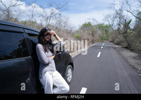 woman having problem with her car  - Stock Photo