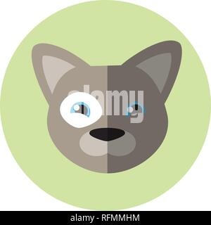 Vector flat round icon. Grey dog on green background. French bulldog. - Stock Photo