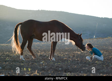 Teenage girl leaning forward to kiss her horse while sitting on the ground in a field - Stock Photo