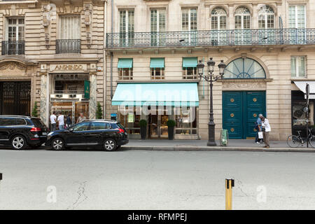 Paris, France 02 June 2018 Tiffany Co store on May 5, 2015 in Hong Kong. The jewelry company founded in 1837 is among most recognized luxury brands in - Stock Photo