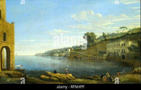 Caspar van Wittel – private collection.  Title: Naples. A View of the Villa Martinelli at Posillipo. Date: the 1730s? Materials: oil on canvas. Dimensions: 49.5 x 81.5 cm. Sold by Sotheby's in London, on December 6, 2012. Source: http://www.sothebys.com/en/auctions/ecatalogue/2012/old-master-british-paintings-day-sale-l12037/lot.227.html. I have  changed the contrast of the original photo. - Stock Photo