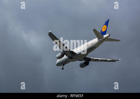 GERMANY, FRANKFURT - SEPTEMBER 06, 2015: Airbus A319-114, D-AILK of Lufthansa flies in the sky - Stock Photo