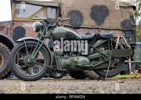 Vintage BSA WM20 military motorcycle at Bicester heritage centre. Bicester, Oxfordshire, England - Stock Photo