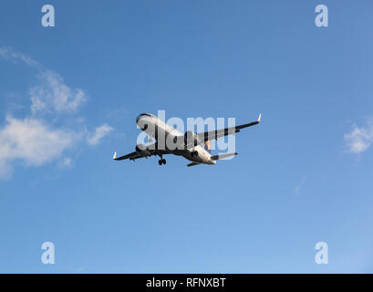 GERMANY, FRANKFURT - SEPTEMBER 06, 2015: Airbus A320-214, D-AIZX of Lufthansa approach and landing at Frankfurt Airport - Stock Photo