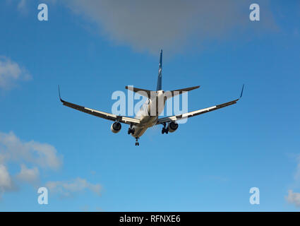 GERMANY, FRANKFURT - SEPTEMBER 06, 2015: Boeing 767 of Delta approach and landing at Frankfurt Airport - Stock Photo