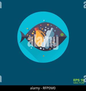 Microplastics in fish flat design long shadow vector icon - Stock Photo