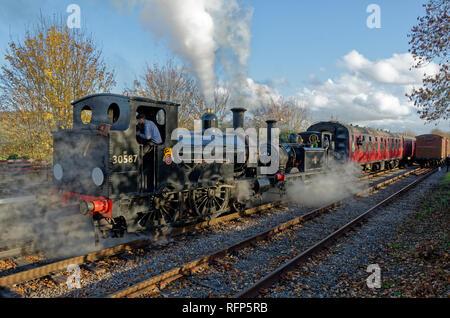 Southern Suburban steam locos at Riverside Station - Avon Valley Railway for their end of season Gala November 2018. - Stock Photo