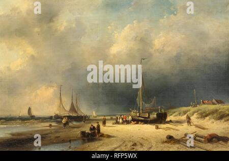 LEICKERT, CHARLES HENRI JOSEPH (Brussels 1816 1907 Mainz) A beach scene with fishermen..jpg - RFP5WX - Stock Photo