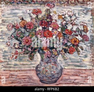 Maurice Brazil Prendergast (American, 1858-1924). Flowers in a Vase (Zinnias), ca. 1910-1913..jpg - RFP6B2 - Stock Photo