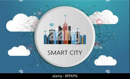 Smart City Design Concept. Network Connections, Colorful Technology Background - Stock Photo
