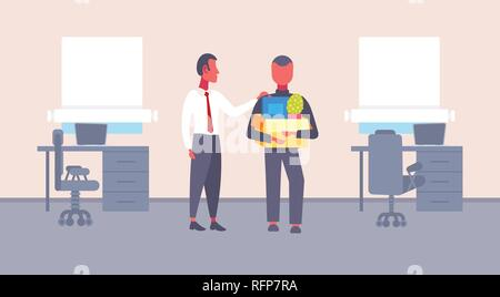 boss welcoming new job vacancy employee with stuff cardboard box comfortable workplace office interior first working day concept flat horizontal - Stock Photo