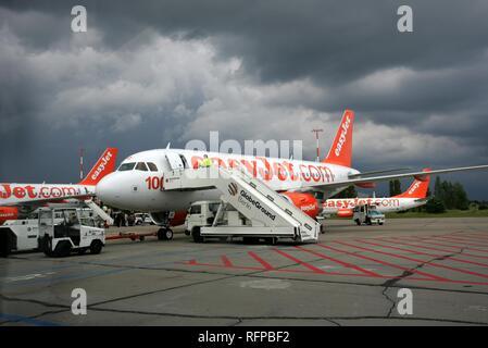 DEU, Germany, Berlin : Airport Berlin-Schoenefeld. Boeing 737 of british easyjet company. - Stock Photo