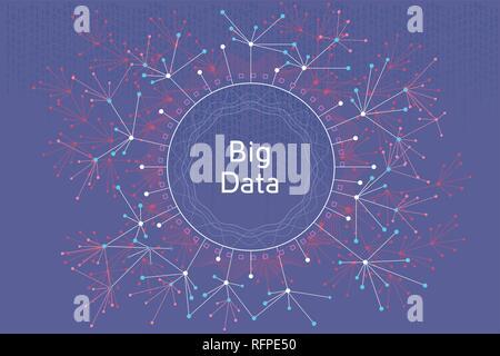 Big data vector concept illustration. Futuristic graphic illustration about visual data and social media analitics. - Stock Photo