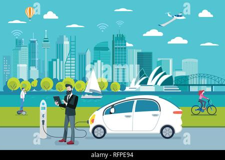 Electric car charging point. A man charging his electric car with a application. On the background, a panoramic Sydney skyline. Flat vector illustrati - Stock Photo