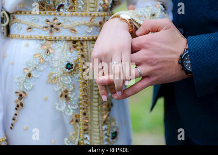 young muslim couple getting married - Stock Photo