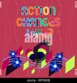 Handwriting text writing Action Changes Things. Concept meaning overcoming adversity by taking action on challenges Colorful Instrument Maracas Handma - Stock Photo