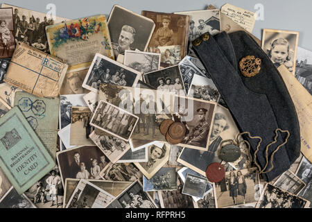 Genealogy - Family History - Old family photographs dating from around 1890 up to about 1950. - Stock Photo