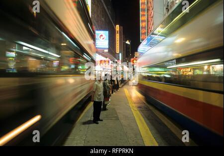 Traffic in Hennessy Road, Causeway Bay, Hongkong Island, Hongkong, China - Stock Photo