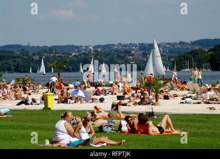 DEU, Germany, Essen : Baldeneysee lake, river Ruhr. Artificial sand beach for chilling and fun at the Ruhr shore. Seaside Beach - Stock Photo
