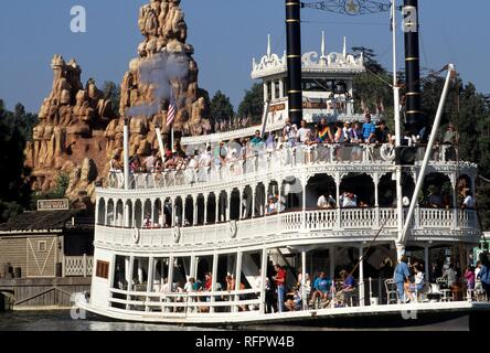 USA, United States of America, California, Disneyland, the Mark Twain paddle steamer - Stock Photo