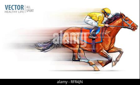 Jockey on racing horse. Champion. Hippodrome. Racetrack. Horse riding. Vector illustration. Derby. Speed. Blurred movement. Isolated on white background. - Stock Photo