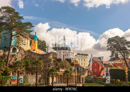 Popular tourist resort of Portmeirion, North Wales, UK, the Italianate village built by Clough Williams-Ellis. - Stock Photo