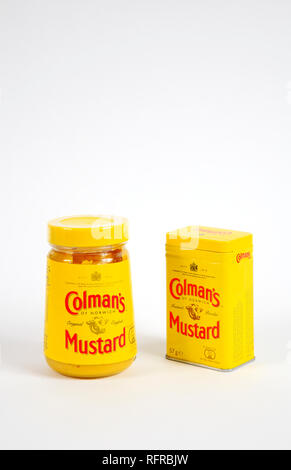 A jar of Colman's original ready made mustard and a tin of Colman's mustard powder by Colman's of Norwich for Unilever UK, Europe. - Stock Photo