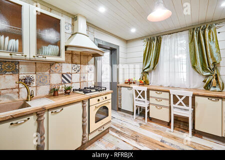 moscow, russia, 01.02.2019: New modern kitchen interior in luxury home - Stock Photo