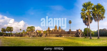 Angkor Wat temple at sunset. Siem Reap. Cambodia. Panorama - Stock Photo