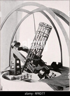 . Carnegie Institution of Washington publication. 84. FIG. 60.—Model of loo-inch Reflector Mounting. But in addition to its power of reaching out to such great distances, a loo-inch telescope should also contribute in large degree to the solution of other questions. It would collect more than twice as much light as the 6o-inch reflector, and for all classes of work this would mean a great gain.. Please note that these images are extracted from scanned page images that may have been digitally enhanced for readability - coloration and appearance of these illustrations may not perfectly resemble  - Stock Photo