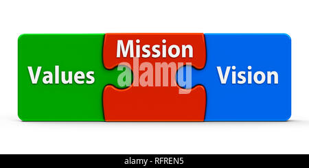 Color puzzle pieces with text values, mission and vision, isolated on a white background, three-dimensional rendering, 3D illustration - Stock Photo