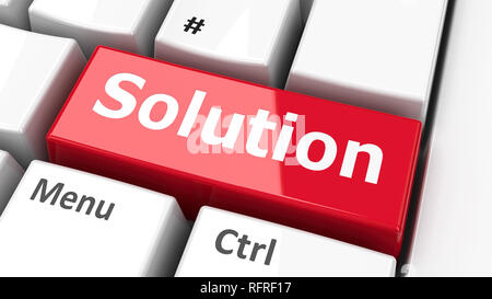 Solution key on the computer keyboard, three-dimensional rendering, 3D illustration - Stock Photo