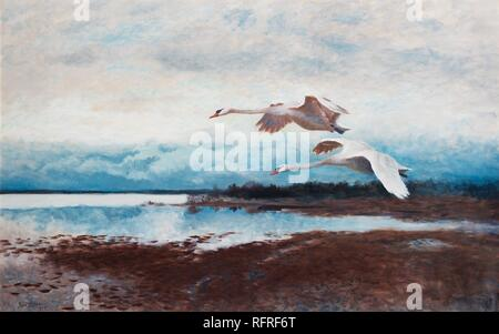 Bruno Liljefors (Swedish, 1860-1939), Swans in Flight.jpg - RFRF6T  - Stock Photo