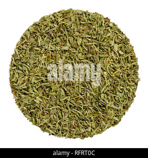 Dried savory. Herb circle from above isolated over white. Disc made of chopped summer savory, Satureja hortensis, a green herb and seasoning. - Stock Photo
