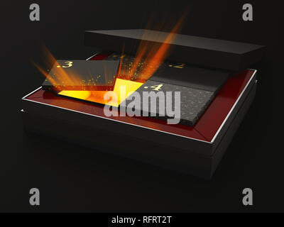 3d Illustration of open rectangular box with boxes and rays inside, isolated black background. - Stock Photo