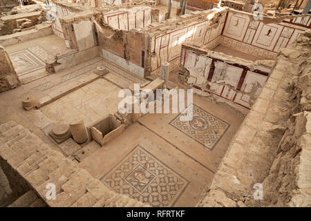 Remains of Roman houses known as Terrace Houses, in the ancient city of Ephesus, Turkey - Stock Photo